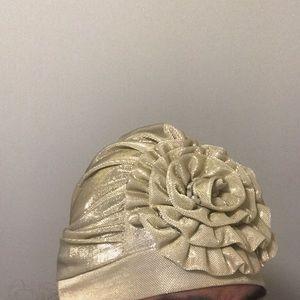 Gold lame head band/hat vintage